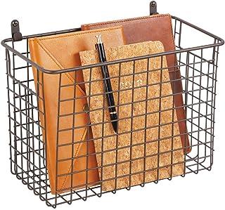 mDesign étagère murale métallique – grand panier de rangement pour couloir, chambre, salle de bain, etc. – organiseur de l...
