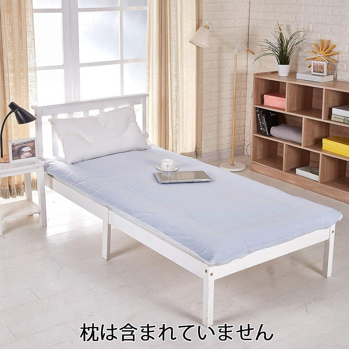 二チューリップ土器敷き布団カバー シングル ポリエステルと綿混織 水洗可 縮まない (ホワイト, 105 x 215 cm)