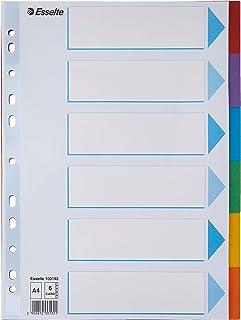 Esselte Intercalaires A4 6 Touches, Bleu/Multicolore, Carton Résistant Recyclé, 6 Onglets avec Table des Matières, 100192