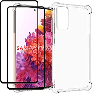 samsung Galaxy S20 FE Case with Tempered Glass (2 Pieces) Slim Shock Absorption TPU Soft Edge Bumper with Reinforced Corne...