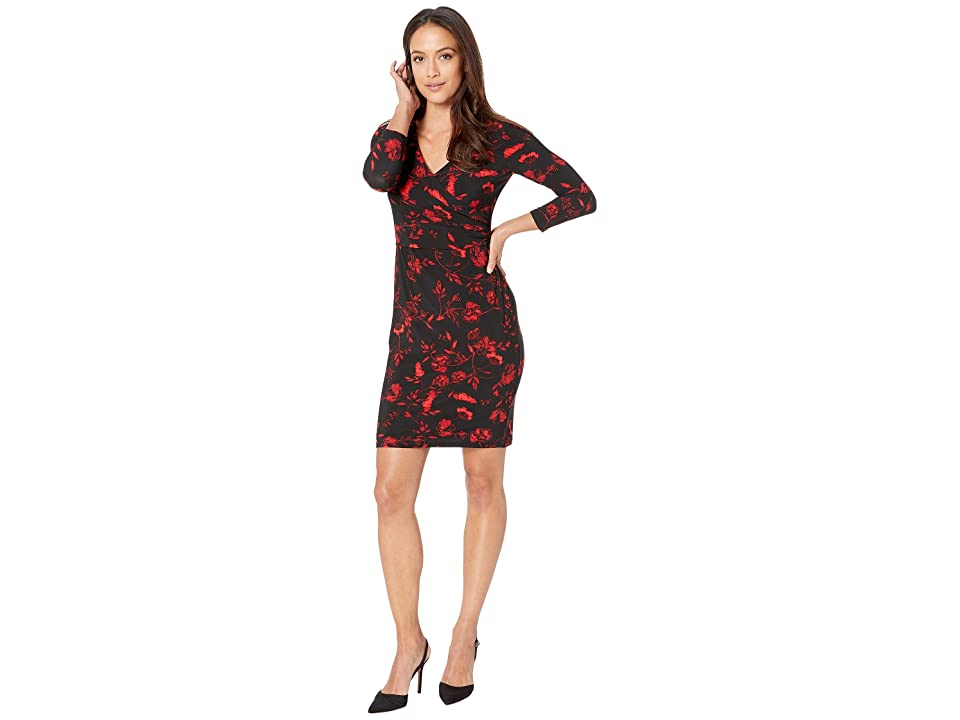 LAUREN Ralph Lauren Petite Bethy B759 Bellaire Floral Day Dress (Black/Red/Multi) Women