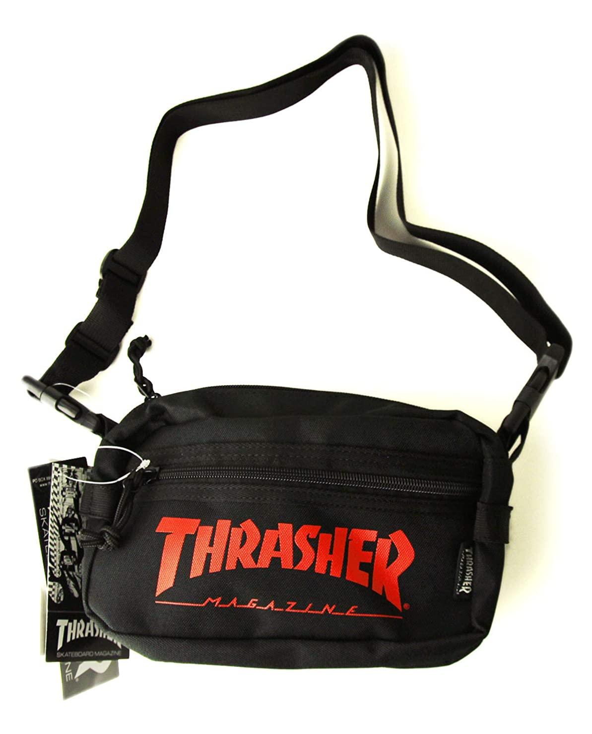 スプレー天ラケットThrasher Magazine(スラッシャー)小物バッグ ポーチ ミニショルダー Mini Shoulder Bag Black×Red(ブラック×レッド)