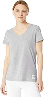 CALVIN KLEIN Performance Women's Logo Patch V-Neck Tee, Pearl Grey Heather, Medium