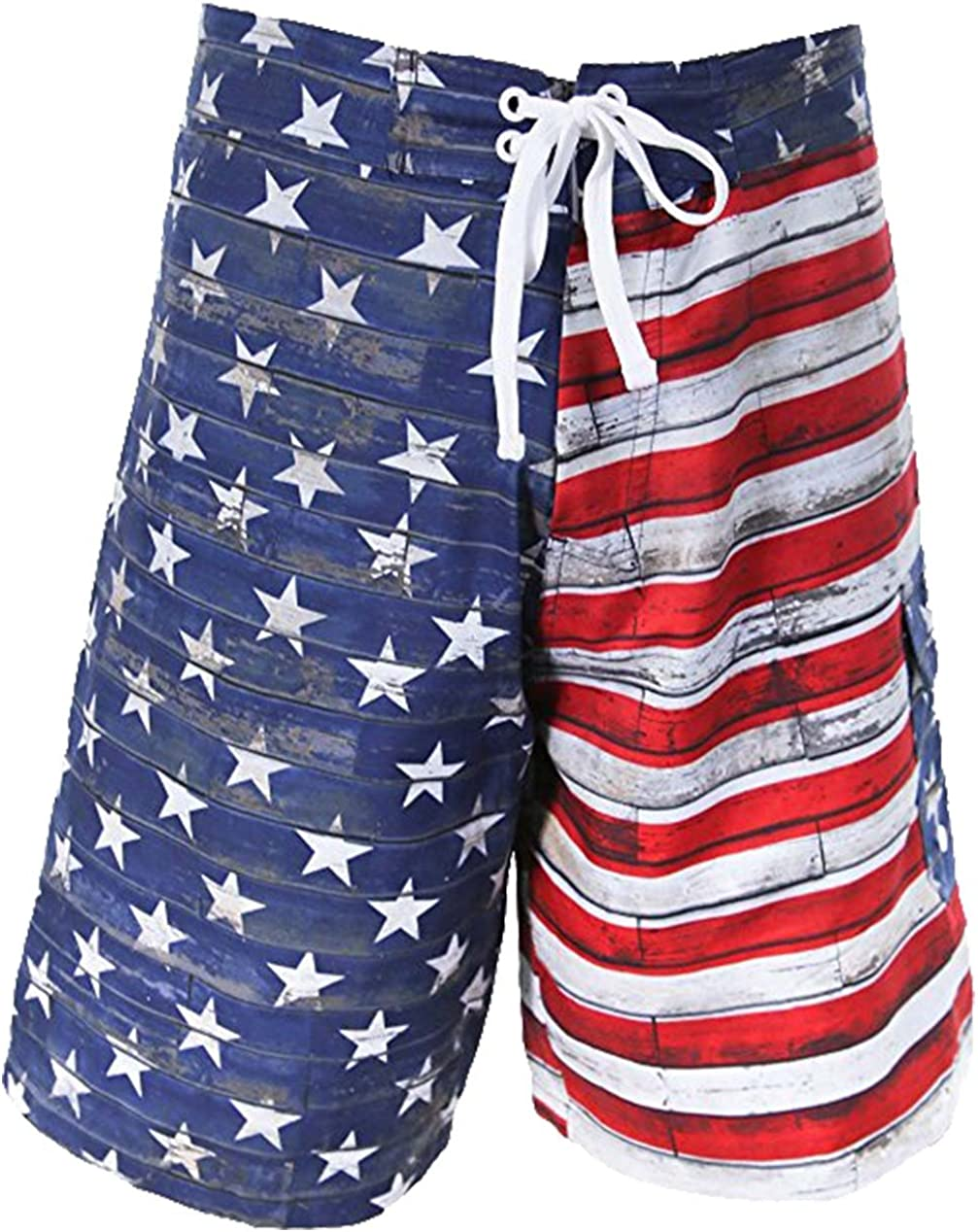 Calhoun Sportswear Mens Distressed USA Flag Swim Board Shorts - S