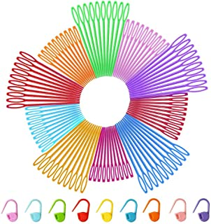 Color Scissor 200 Pieces Colorful Plastic Sewing Needles, Sewing Needles Safety Plastic Lacing Needles for Crafts Extra 50 Pieces Locking Stitch Markers