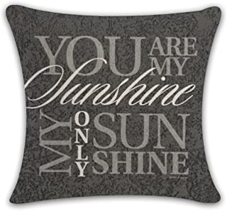 Acelive 20x20 Inches You Are My Sunshine Sweet Inspirational Quotes Throw Pillow Case Cushion Cover Cotton Linen Best Gift For Friend