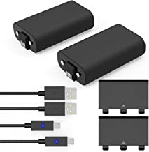 Xbox One Battery Pack 2PCS x 1200 mAh Xbox One Rechargeable Batteries and 5FT Micro USB Charging Cable with LED Indicator Light Kit for Xbox One / Xbox One X / Xbox One S Wireless Controllers