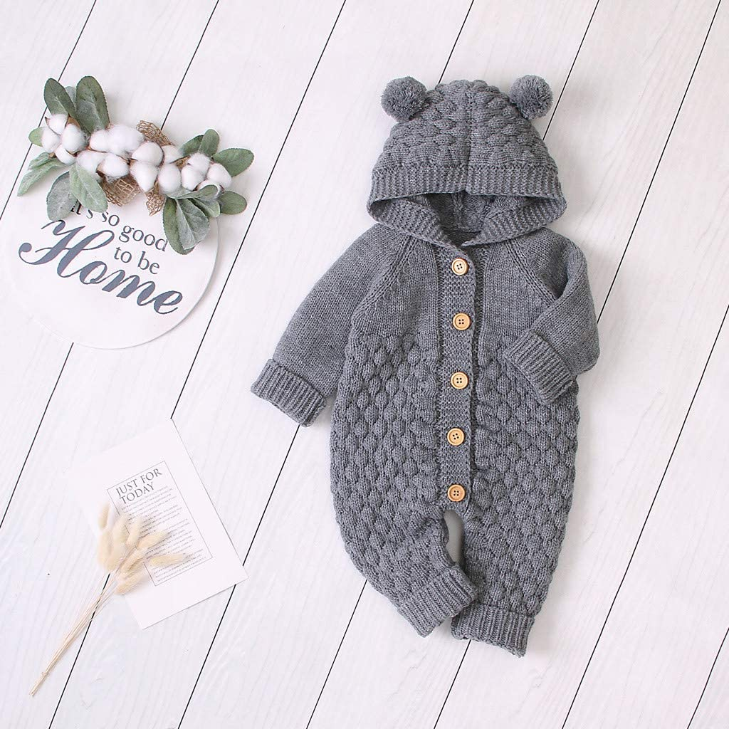 URSING Toddler Baby Hooded Knitted Rompers Newborn Girls Boys Onesies Winter Warm Button Sweater Jumpsuit Outfits
