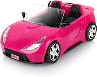 Super Joy Dolls Accessories - Convertible Car for Dolls Glittering Pink Convertible Doll Car