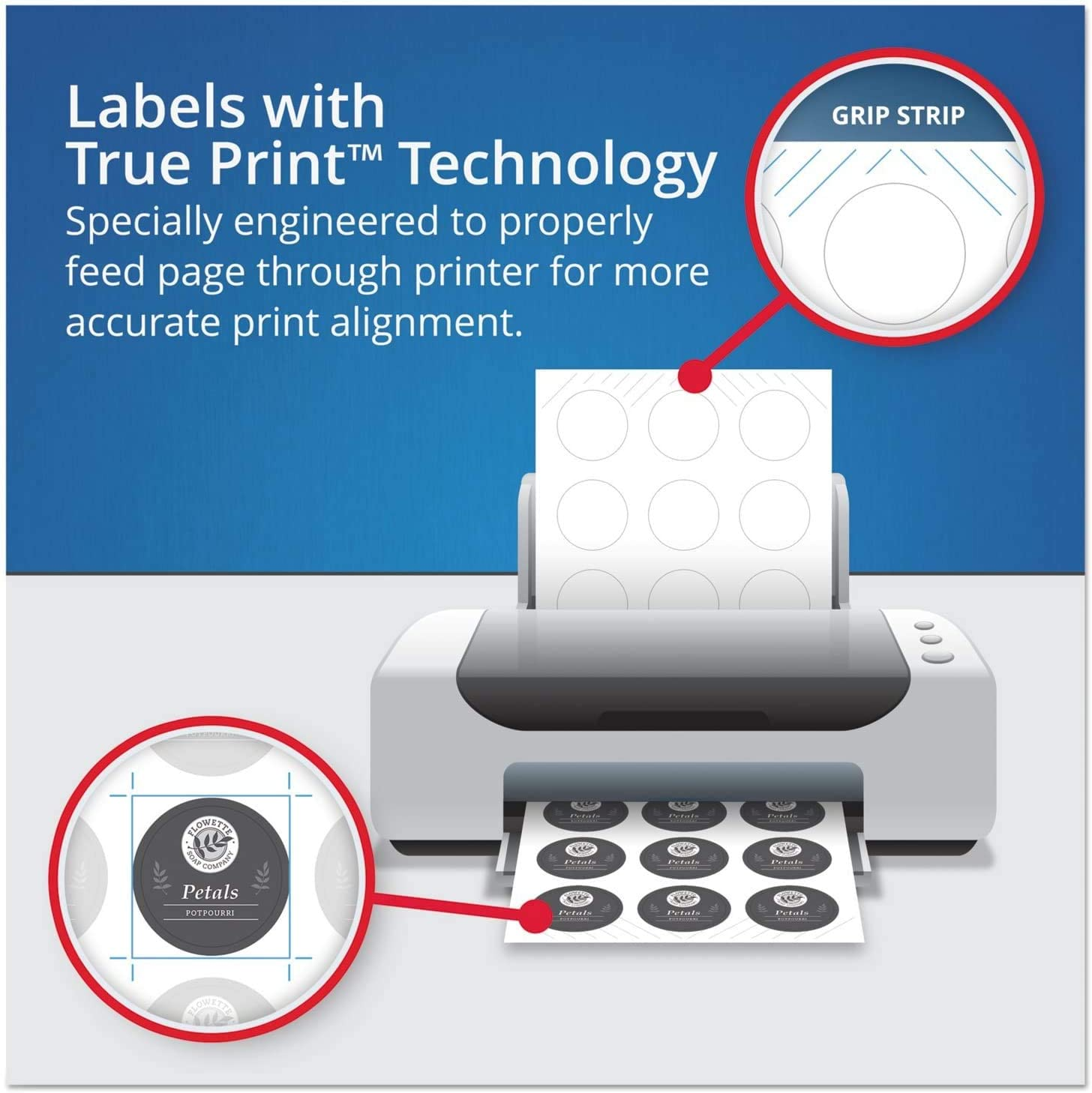 120 Thank You Labels Full Bleed --Print to The Edge - New Sure Feed Avery 2 Glossy White Round Labels 22807 Packaging May Vary