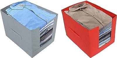 Kuber Industries Non-Woven 2 Pieces Shirt Stacker Wardrobe Organizer (Red & Grey) CTKTC022581