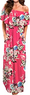 VERABENDI Women's Off Shoulder Summer Casual Long Ruffle Beach Maxi Dress with Pockets