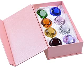 """LONGWIN 50mm (2"""") Crystal Diamond Pirate Gems and Jewels Paperweight Table Decor Multicolor Christmas Centerpiece Gift for Kids"""