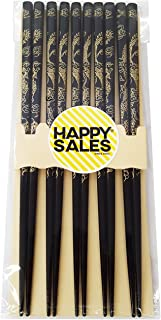 Happy Sales HSCH30, Imperial Dragon 5 Pairs Japanese Design Chopsticks set Gold Black