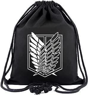 Attack on Titan Anime Sackpack Drawstring Bags Gym Sack Sport Sack Backpack