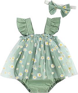 طفلة ديزي الطباعة قطعتين رومبير مجموعة الرضع مربع طوق أكمام الشيفون بذلة تنورة + مجموعة عقال (Color : Green, Kid Size : 18M)
