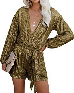 Rompers for Women Casual V Neck Long Sleeves Jumpsuits Playsuits Bandage Waist Sequins Party Romper