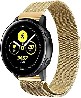 ZHOUJJ Watchbands Milanis Magnetic Stainless Steel Mesh Wrist Strap WatchBand for Galaxy Watch Active 20mm (Black) (Color : Gold)