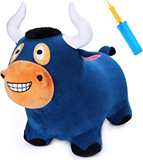 iPlay, iLearn Bouncy Bull Hopper Horse Ride on Toys, Inflatable Plush Riding Hopping Farm Animals, Outdoor Jumping Toddler Bouncer with Pump, Activity Gifts for 3, 4, 5 Year Olds, Kids, Boys, Girls