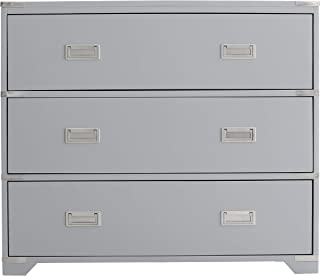 Grey Campaign Style Drawer Chest Transitional Painted