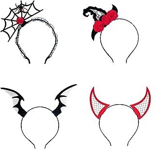 4 Pieces Halloween Headbands Spider Web Headbands Devil Hair Hoops Dress Up Hair Accessories for Halloween Party Supplies