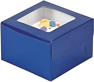 Fun Express - Blue Cupcake Boxes - Party Supplies - Containers & Boxes - Paper Boxes - 12 Pieces