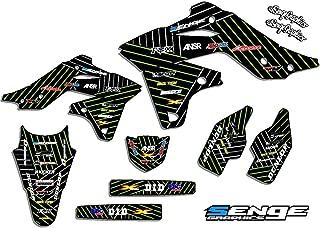 Senge Graphics kit compatible with Kawasaki 2001-2013 KX 85/100, Race Series Black Graphics Kit