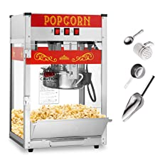Olde Midway Commercial Popcorn Machine Maker Popper with 8-Ounce Kettle - Red