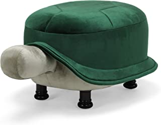 Great Deal Furniture Cathy Velvet Turtle Ottoman, Emerald and Pistachio