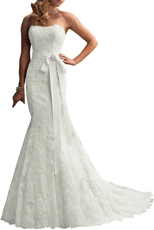 Baixia Mermaid Trumpet Wedding Dress Lace Birde Gowns