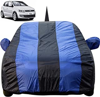 Autofact Car Body Cover for Volkswagen Polo with Mirror and Antenna Pocket (Light Weight, Triple Stitched, Heavy Buckle, Bottom Fully Elastic, Royal Blue Stripes with Navy Blue Color)