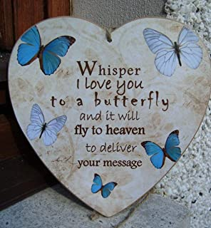 Olga212Patrick Whisper I Love You to a Butterfly Heaven Message Blue Memorial Home Gift idea Heart Handmade Plaque