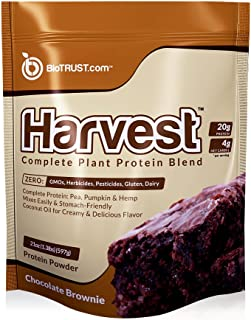 BioTrust Harvest Complete Plant Based Protein | Dairy-Free & 100% Vegan Protein Powder | Non GMO & Soy-Free with 20 Grams Complete Protein From Hemp, Pumpkin & Pea Protein | Chocolate Brownie