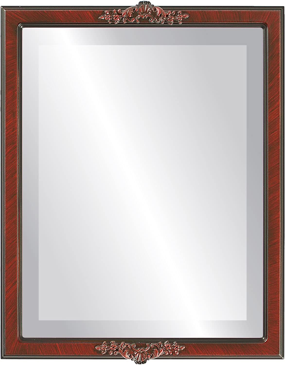 Rectangle Beveled Wall Mirror for Home Decor - Athena Style - Vintage Cherry - 14x18 Outside Dimensions