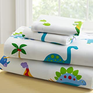 Wildkin Twin Sheet Set, 100% Cotton Twin Sheet Set with Top Sheet, Fitted Sheet, and One Pillow Case, Bold Patterns Coordinate with Other Room Décor, Olive Kids Design – Dinosaur Land