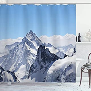 Ambesonne Winter Shower Curtain, Snowy Rocky Mountain Peaks Tops Scene High Lands ICY Frozen Swiss Outdoor Art, Cloth Fabric Bathroom Decor Set with Hooks, 70