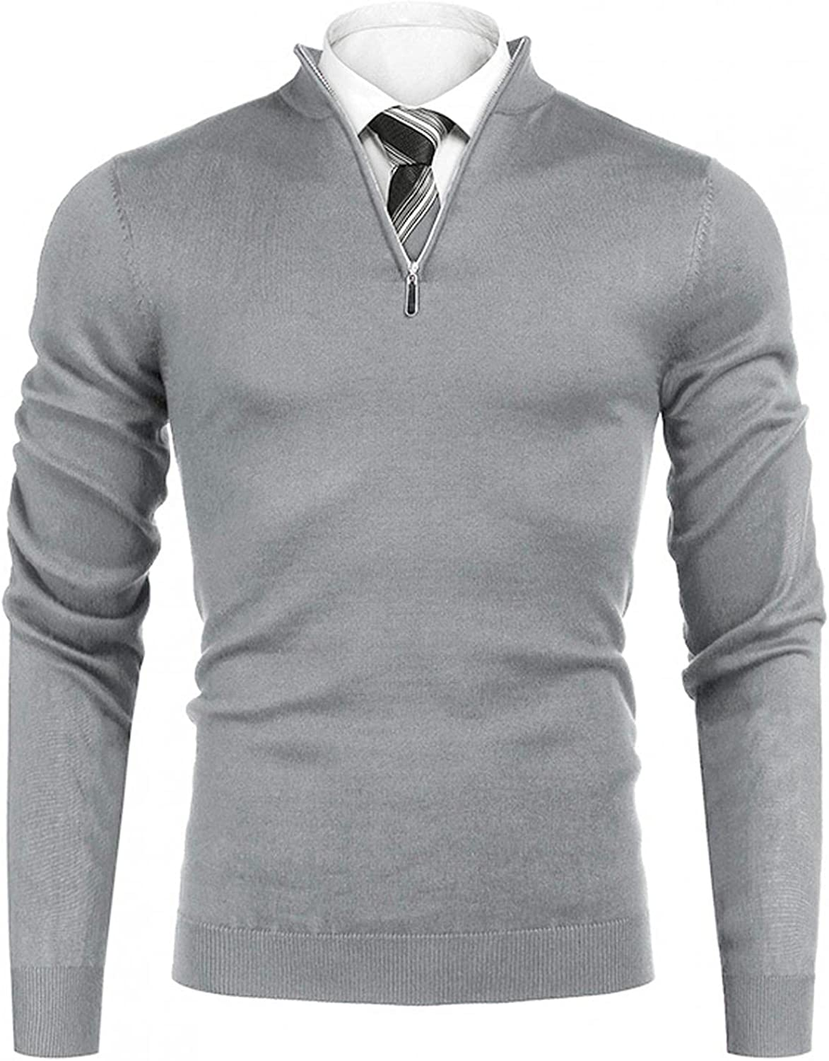 LEIYAN Mens Casual V Neck Sweater Quarter Zip Slim Fit Long Sleeve Shawl Collar Cable Knit Jumper Pullover Tops