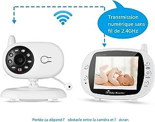 Vigilabebes con Camara Bebé Monitor Inalambrico con 35 LCD Pantalla Intercomunicador Vision Nocturna Monitoreo de Temperatura Cancion de Cuna Autoconecxion Rapido Sin Necesidad de Internet
