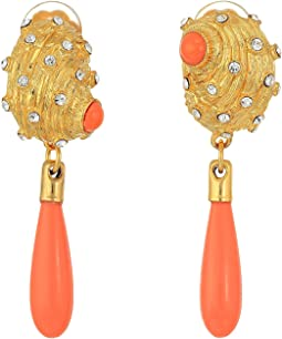 Kenneth Jay Lane - Satin Gold w/ Crystal Dots and 12mm Coral Drop Seashell Clip Earrings