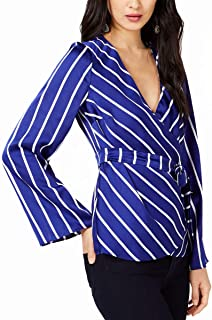 INC International Concepts Womens Striped Bell-Sleeve Wrap Top (Blue/White Stripe, Small)