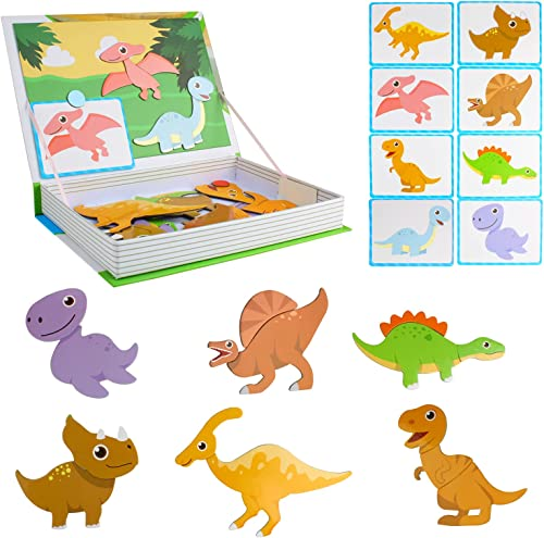 2021 Larcele Kids 2021 Puzzle 25 Pieces Wooden Magnetic Dinosaur World Puzzle Early Educational Jigsaw online Puzzle Toy for 36+ Months Boys or Girls YZPT-01(916c) outlet sale