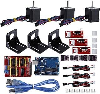 Yoidesu Professional 3D Printer CNC Kit, GRBL CNC Shield + for UNO-R3 Board + DRV8825 A4988 Stepper Motor Driver + Nema 17 Stepper Motor + Mechanical Switch Endstop for Kuman UNO R3 for Arduino