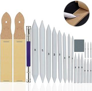 Diealles Shine 21 Piezas Set de Accesorios de Dibujo Difuminos, Difuminos y Tortillones de Mezcla Lápiz de Lija y 1 Borrad...