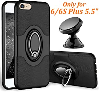eSamcore iPhone 6S Plus Case, iPhone 6 Plus Case Ring Holder Kickstand Cases + Magnetic Phone Car Mount for Apple iPhone 6 6S Plus 5.5 Inch [Black]