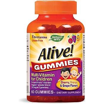 Nature's Way Alive! Children's Gummy Multivitamin, Gluten Free, Made with Pectin, 60 Gummies