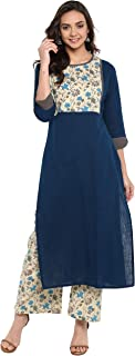 Janasya Indian Tunic Tops Cotton Kurti Set for Women