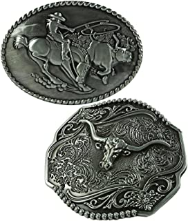 Lovoski 2 Pieces Classic Vintage Horse&Rider Shaped Popular Cool Belt Buckle