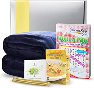 Get Well Gifts Basket Box - Includes Luxury Blanket Organic Tea Soup and Book   Get Well Gift Baskets for Women Men Teens Friends   Get Well Care Package Presented in Beautiful Gift Box with Ribbon