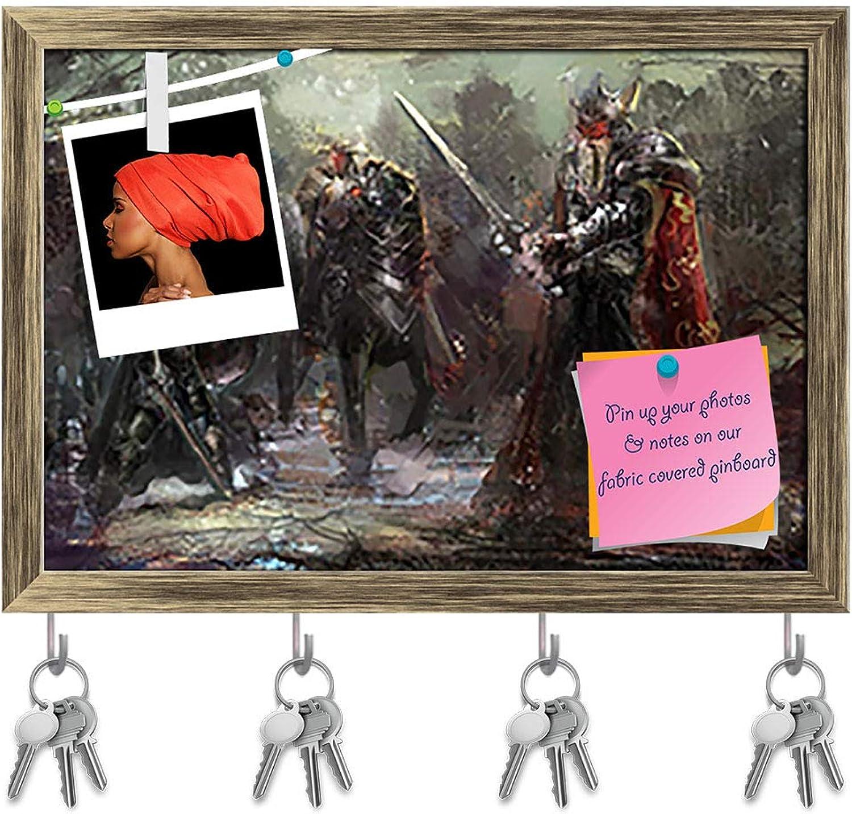 Artzfolio 3 Soldiers in Forest Key Holder Hooks   Notice Pin Board   Antique golden Frame 14.1 X 10Inch