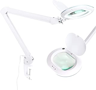 Brightech LightView PRO XL LED Magnifying Desk & Table Clamp Lamp– Bright Magnifier Light- 5-Diopter Rectangular Lens & 2.25X Magnification– Dimmable Utility Light- Task Craft or Workbench - White